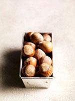 Hazelnuts in loaf tin