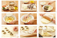 Making mushroom pasties with potato pastry