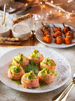 Appetisers for Christmas (carrot croquettes,salmon rolls)