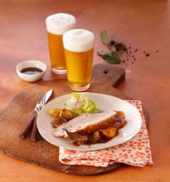 Roast pork with crackling cooked in beer