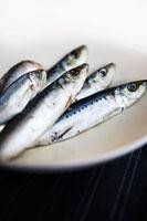 Fresh sardines on plate