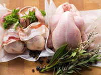 Still life with partridges,poulard and herbs