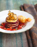 Aubergine millefeuille with tomatoes