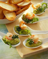 Avocado cream with prawns and baguette slices