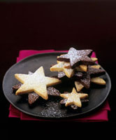 Star-shaped chocolate and plain biscuits