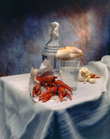 Crayfish�Ccarafe and glass of water�Cbread and garlic on t