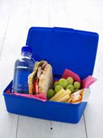 School lunch box (Sandwich,grapes,drink,cheese,muesl