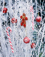 Branches with Christmas decorations in garden
