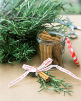 Christmas decoration made from cinnamon sticks and rosemary