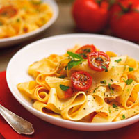 Bowl of Pasta with Roasted Tomatoes and Basil