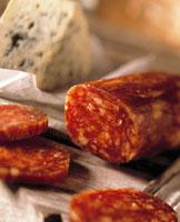 Hartwurst (hard cured sausage) and gorgonzola