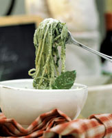 Longuine with Pesto in a Bowl; Fork