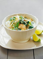 Laksa (glass noodle soup with chicken & coconut milk,Malay
