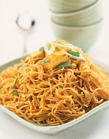 Singapore noodles with tofu (Asian noodle stir-fry with tofu
