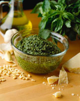 Basil Pesto in a Glass Bowl