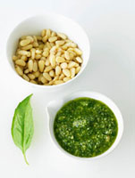 Bowl of Pesto; Bowl of Pine Nuts; Basil Leaf