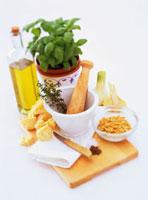 Still life with pesto ingredients
