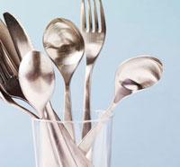 Cutlery in glass