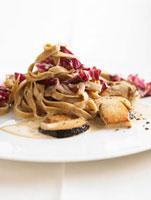 Tagliatelle with cep and radicchio sauce