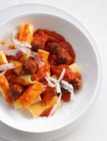 Rigatoni with meatballs and tomato sugo arrabbiata