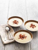 Cream of leek and celeriac soup with bacon