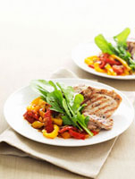 Barbecued chicken breast with peperonata and rocket