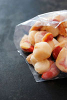 Frozen scallops in freezer bag