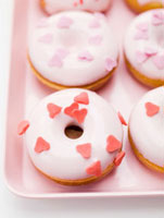 Doughnuts with sugar hearts for Valentine's Day