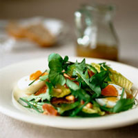 Dandelion salad with water cress,ham and egg
