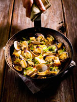 Manila Clams and Tofu Stir Fry in Skillet