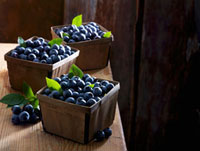 Blueberries in Three Punnets on Wooden Table