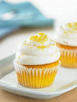 Lemon Cupcakes with White Butter Cream Frosting and Yellow S