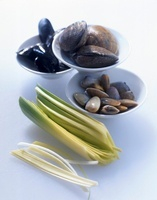 Various fresh mussels and leek