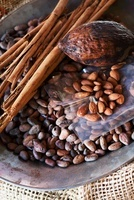 Various nuts, cocoa beans and cinnamon sticks at a market