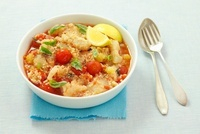 Fish stew with couscous and tomatoes