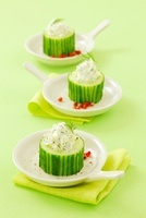 Stuffed cucumbers with herbal cream cheese