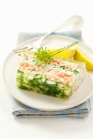 Quark terrine with salmon, cucumber and herbs