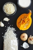 Ingredients for pumpkin risotto, seen from above