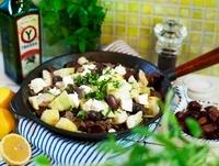 Greek dish with minute steak and feta cheese