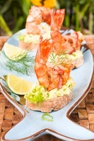 Canapes with prawns and avocado