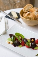 Beetroot salad with raspberries and hazelnuts