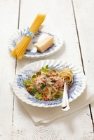 Spaghetti with ham, green olives and Parmesan