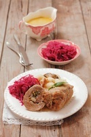 Beef roulade with potato dumplings and red cabbage (Poland)