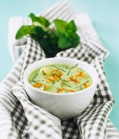 Cold melon soup with saffron