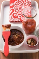 Tomato ketchup and BBQ sauce with smoked almonds