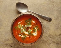 Red pepper soup with creme fraiche and chervil