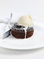 Chocolate pudding with ice cream