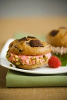 Sugarless Chocolate Chip Cookie Sandwiches with Pistachio Nu