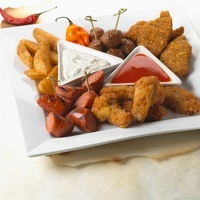 Appetizer Platter; Potato Wedges, Swedish Meatballs, Grilled