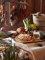 Rustic Feast with Ham, Pheasant, Sausages, Beer and Vegetabl